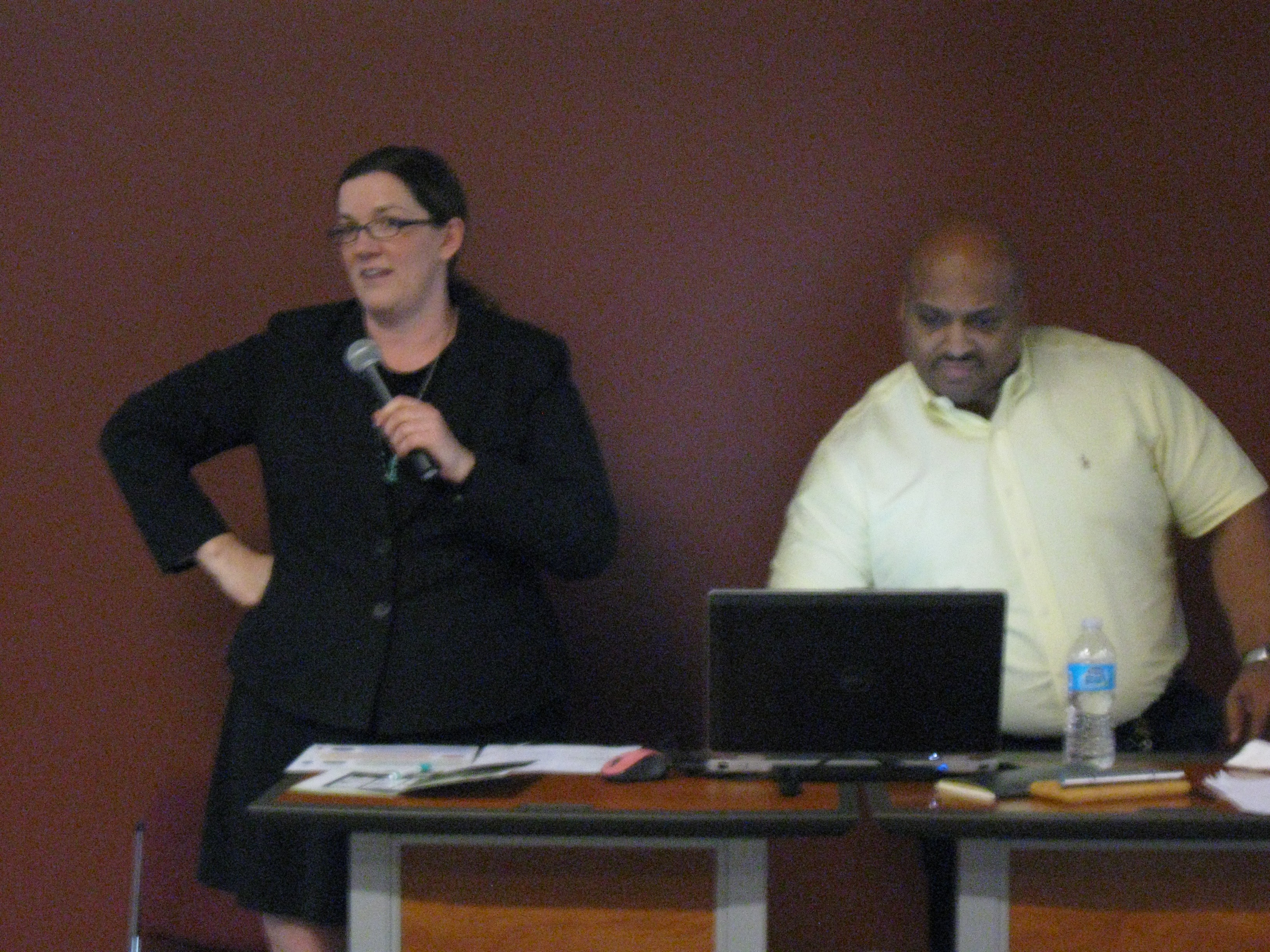 Speaker Angela Anderson and tech support Ray on Legislative Day 2015